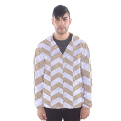Chevron2 White Marble & Sand Hooded Wind Breaker (men)