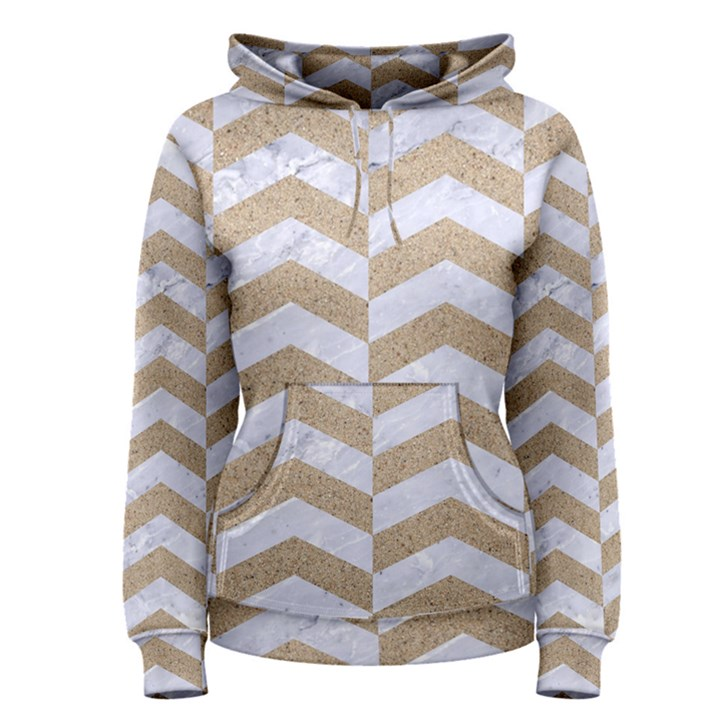 CHEVRON2 WHITE MARBLE & SAND Women s Pullover Hoodie