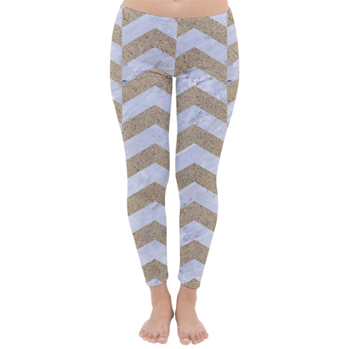 CHEVRON2 WHITE MARBLE & SAND Classic Winter Leggings