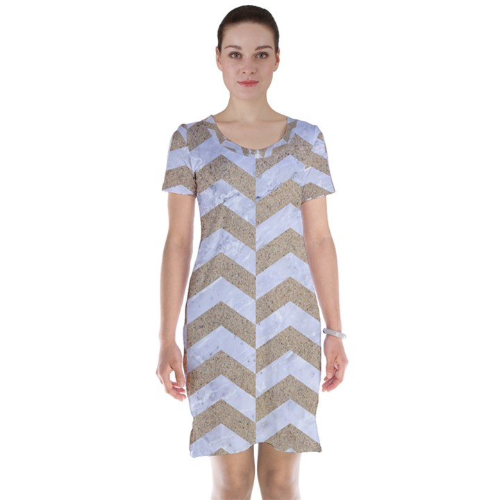 CHEVRON2 WHITE MARBLE & SAND Short Sleeve Nightdress