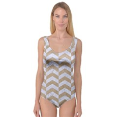 Chevron2 White Marble & Sand Princess Tank Leotard