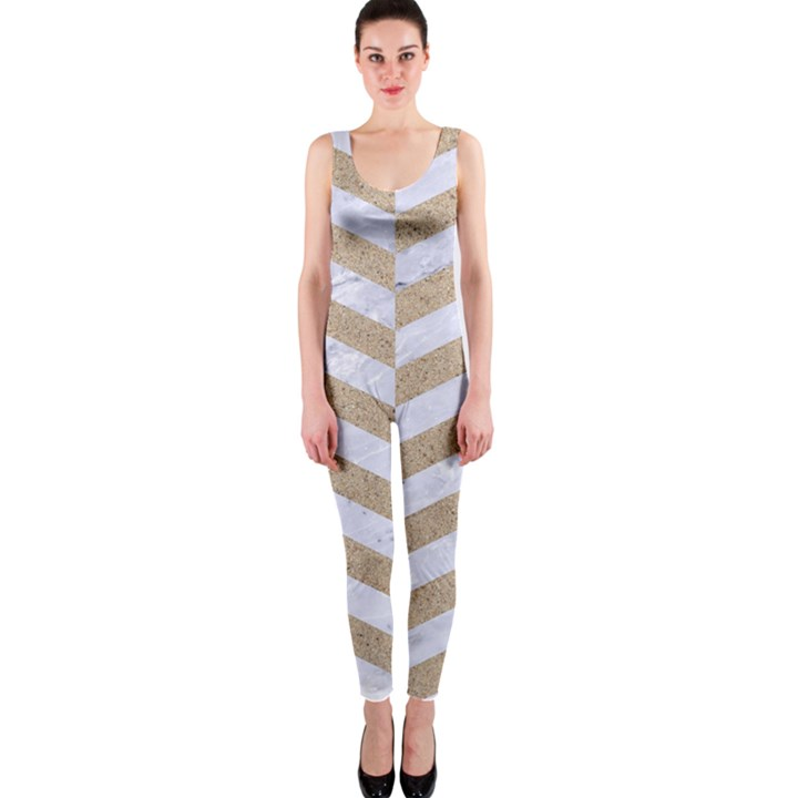 CHEVRON2 WHITE MARBLE & SAND One Piece Catsuit