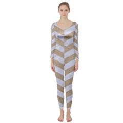 Chevron2 White Marble & Sand Long Sleeve Catsuit