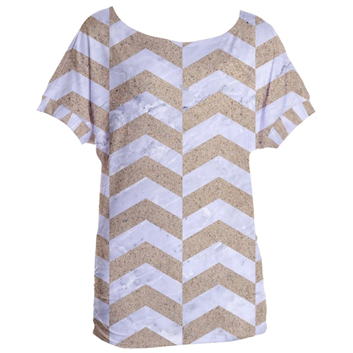 CHEVRON2 WHITE MARBLE & SAND Women s Oversized Tee