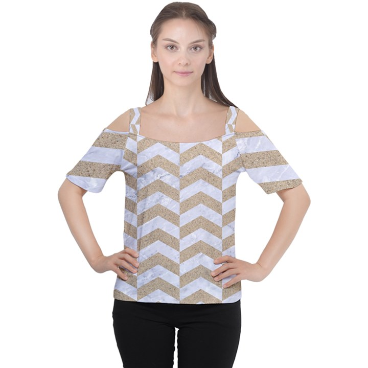 CHEVRON2 WHITE MARBLE & SAND Cutout Shoulder Tee