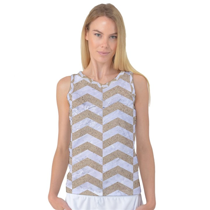 CHEVRON2 WHITE MARBLE & SAND Women s Basketball Tank Top