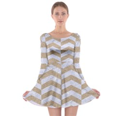 Chevron2 White Marble & Sand Long Sleeve Skater Dress