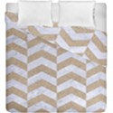 CHEVRON2 WHITE MARBLE & SAND Duvet Cover Double Side (King Size) View1