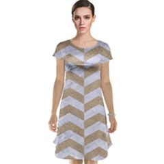 Chevron2 White Marble & Sand Cap Sleeve Nightdress