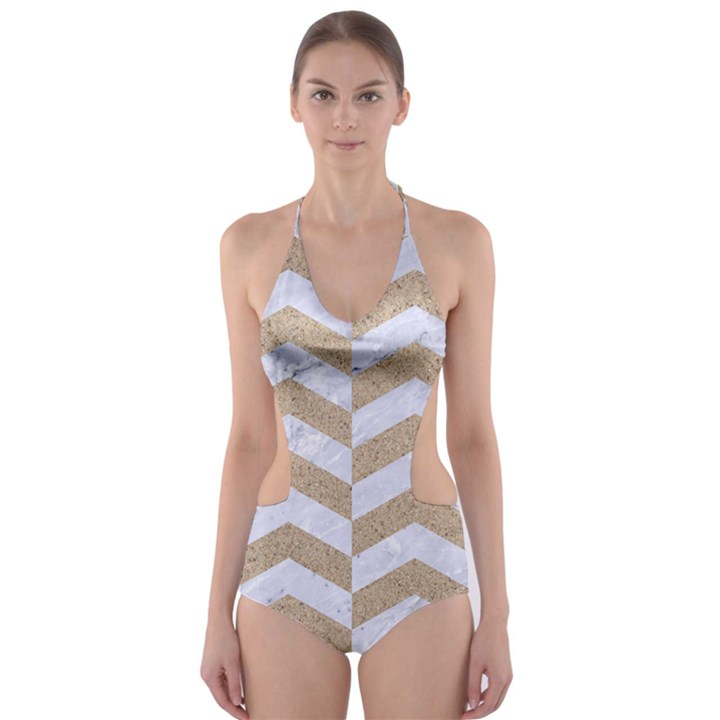 CHEVRON2 WHITE MARBLE & SAND Cut-Out One Piece Swimsuit