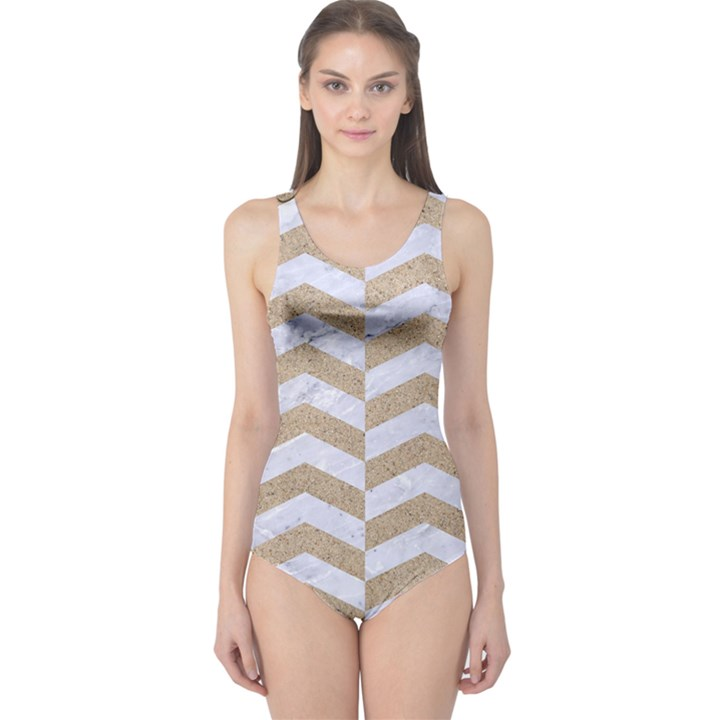 CHEVRON2 WHITE MARBLE & SAND One Piece Swimsuit