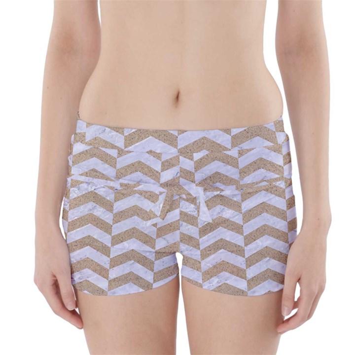 CHEVRON2 WHITE MARBLE & SAND Boyleg Bikini Wrap Bottoms