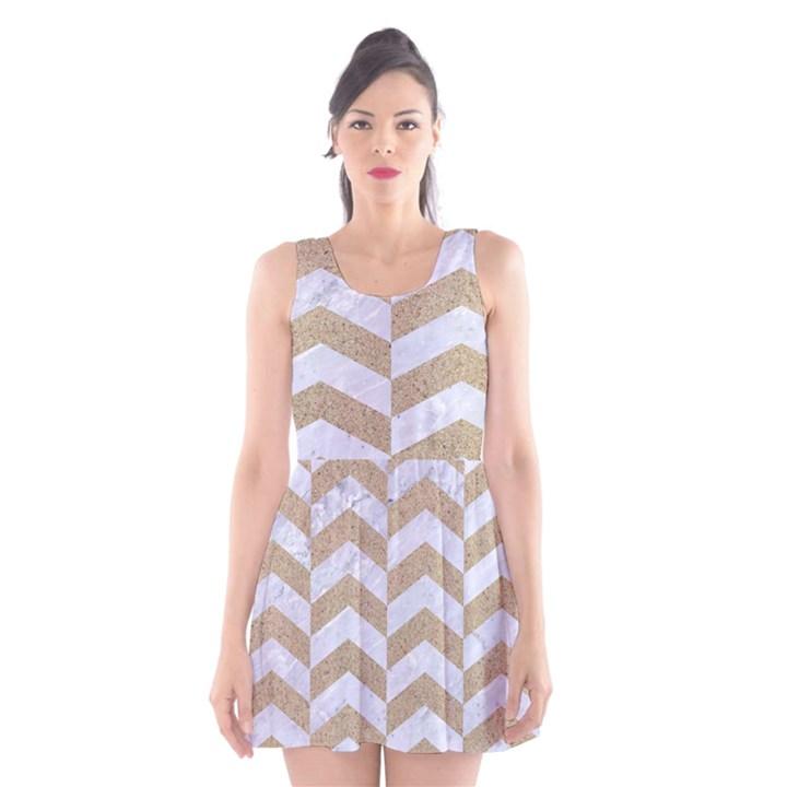 CHEVRON2 WHITE MARBLE & SAND Scoop Neck Skater Dress