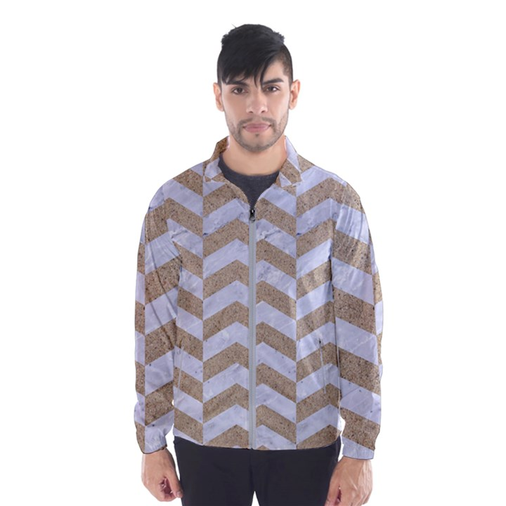 CHEVRON2 WHITE MARBLE & SAND Wind Breaker (Men)