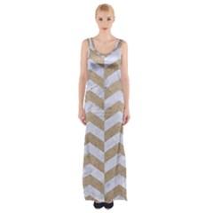 Chevron2 White Marble & Sand Maxi Thigh Split Dress