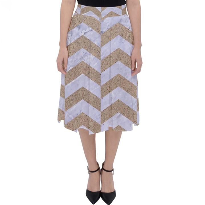 CHEVRON2 WHITE MARBLE & SAND Folding Skater Skirt