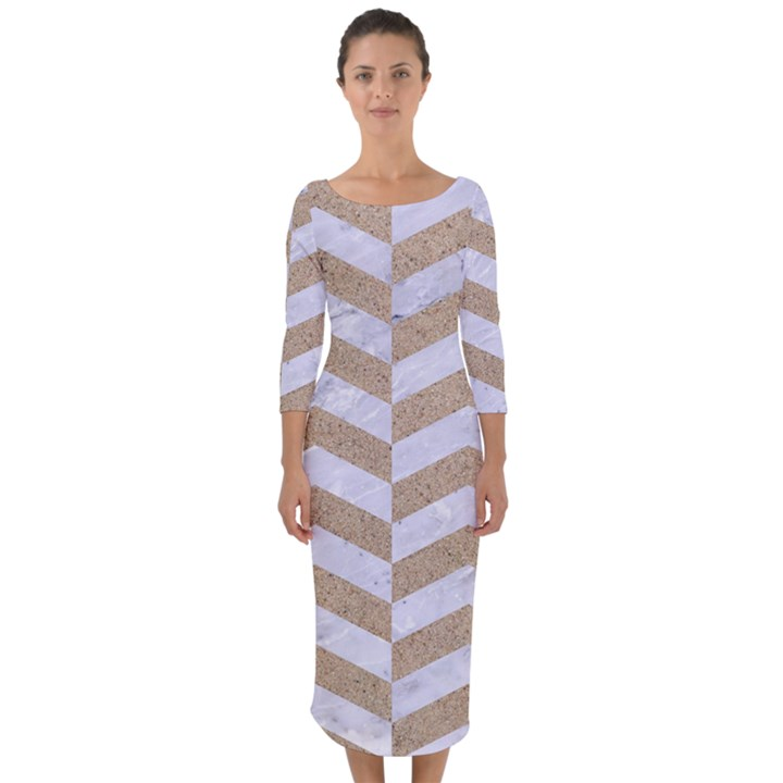 CHEVRON2 WHITE MARBLE & SAND Quarter Sleeve Midi Bodycon Dress