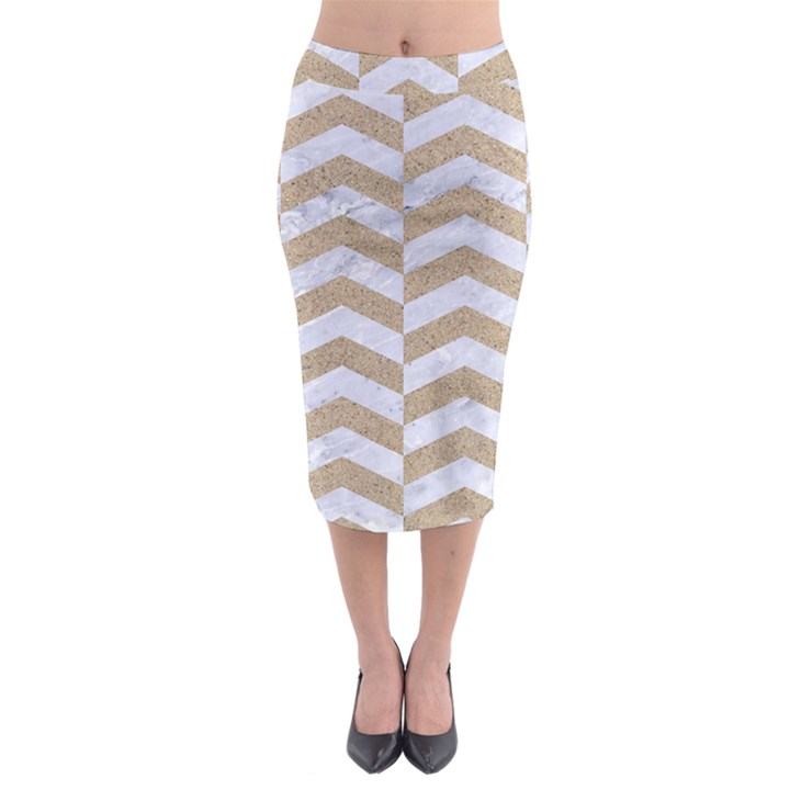 CHEVRON2 WHITE MARBLE & SAND Midi Pencil Skirt