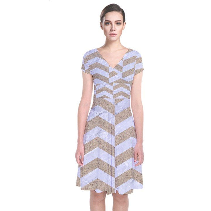 CHEVRON2 WHITE MARBLE & SAND Short Sleeve Front Wrap Dress