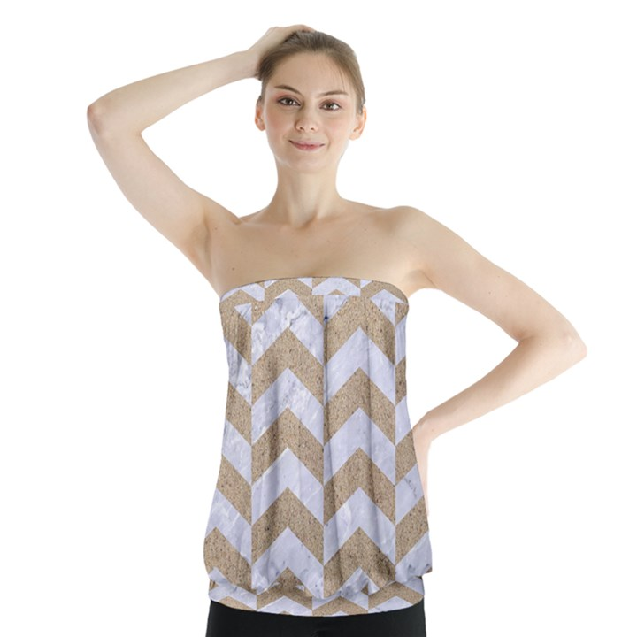CHEVRON2 WHITE MARBLE & SAND Strapless Top
