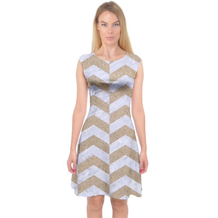 CHEVRON2 WHITE MARBLE & SAND Capsleeve Midi Dress
