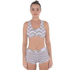 Chevron2 White Marble & Sand Racerback Boyleg Bikini Set
