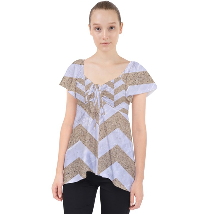 CHEVRON2 WHITE MARBLE & SAND Lace Front Dolly Top