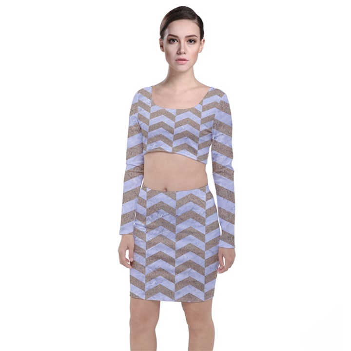 CHEVRON2 WHITE MARBLE & SAND Long Sleeve Crop Top & Bodycon Skirt Set