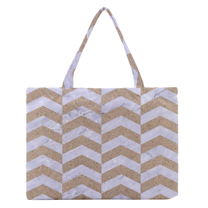CHEVRON2 WHITE MARBLE & SAND Zipper Medium Tote Bag