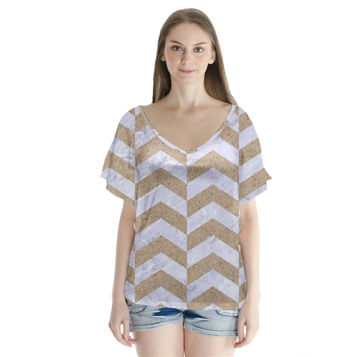 CHEVRON2 WHITE MARBLE & SAND V-Neck Flutter Sleeve Top
