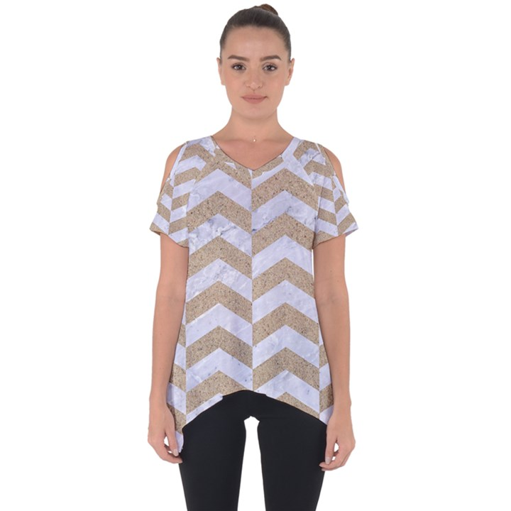 CHEVRON2 WHITE MARBLE & SAND Cut Out Side Drop Tee