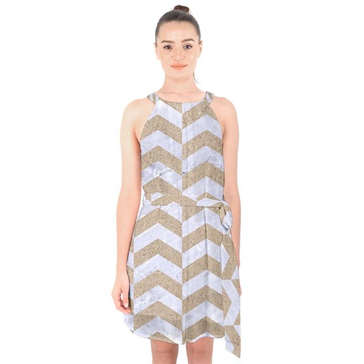 CHEVRON2 WHITE MARBLE & SAND Halter Collar Waist Tie Chiffon Dress