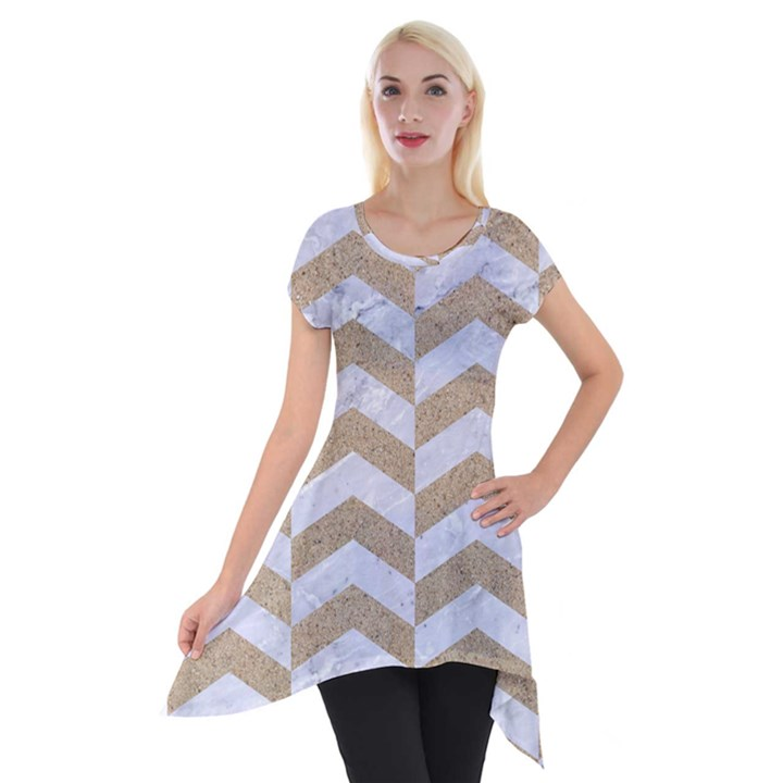 CHEVRON2 WHITE MARBLE & SAND Short Sleeve Side Drop Tunic