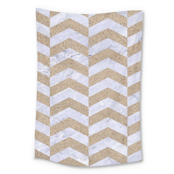CHEVRON2 WHITE MARBLE & SAND Large Tapestry