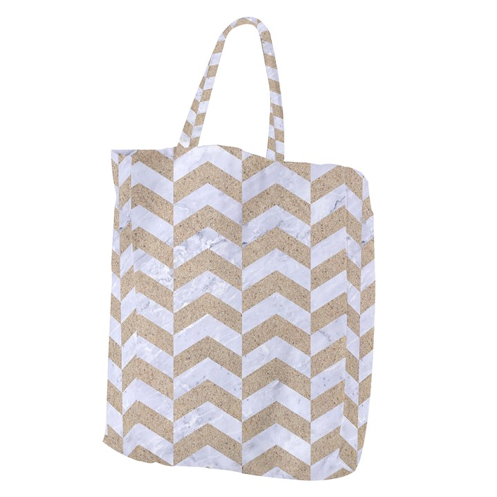 CHEVRON2 WHITE MARBLE & SAND Giant Grocery Zipper Tote