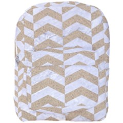 Chevron2 White Marble & Sand Full Print Backpack
