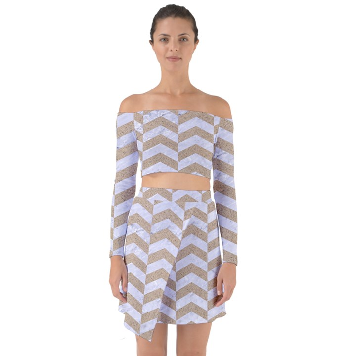CHEVRON2 WHITE MARBLE & SAND Off Shoulder Top with Skirt Set