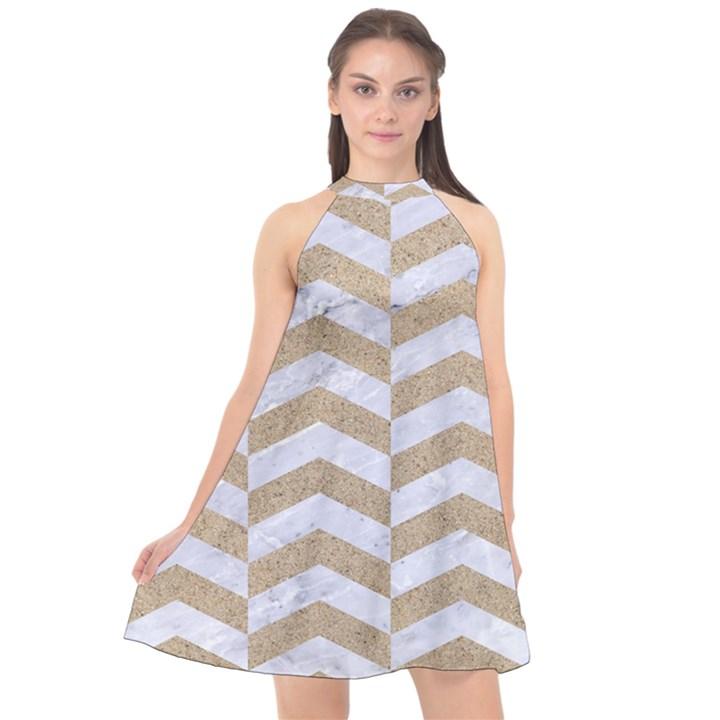 CHEVRON2 WHITE MARBLE & SAND Halter Neckline Chiffon Dress