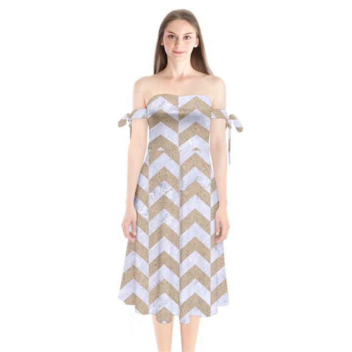 CHEVRON2 WHITE MARBLE & SAND Shoulder Tie Bardot Midi Dress