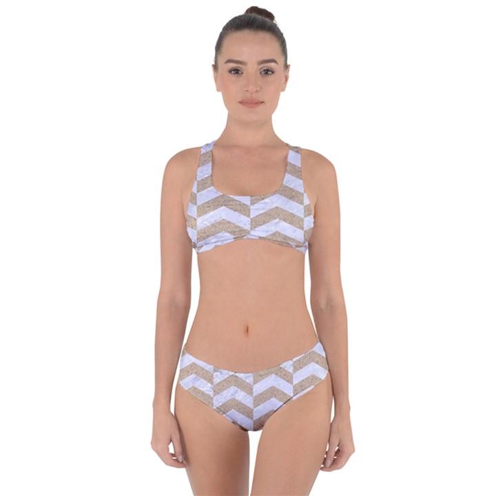 CHEVRON2 WHITE MARBLE & SAND Criss Cross Bikini Set