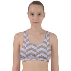 Chevron2 White Marble & Sand Back Weave Sports Bra