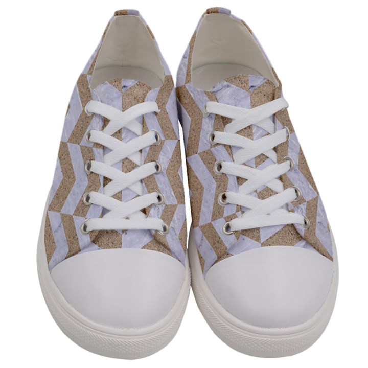 CHEVRON2 WHITE MARBLE & SAND Women s Low Top Canvas Sneakers
