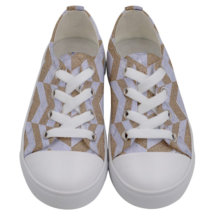 CHEVRON2 WHITE MARBLE & SAND Kids  Low Top Canvas Sneakers