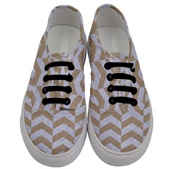 Chevron2 White Marble & Sand Men s Classic Low Top Sneakers