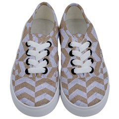 Chevron2 White Marble & Sand Kids  Classic Low Top Sneakers