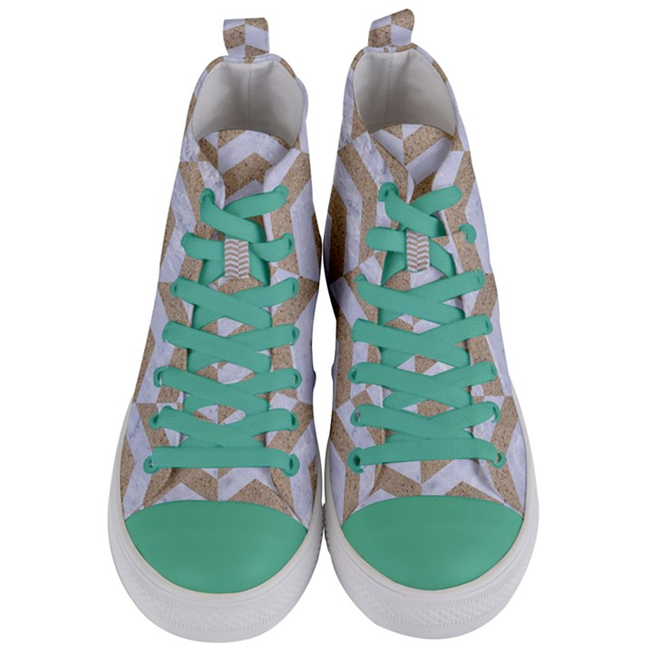 CHEVRON2 WHITE MARBLE & SAND Women s Mid-Top Canvas Sneakers