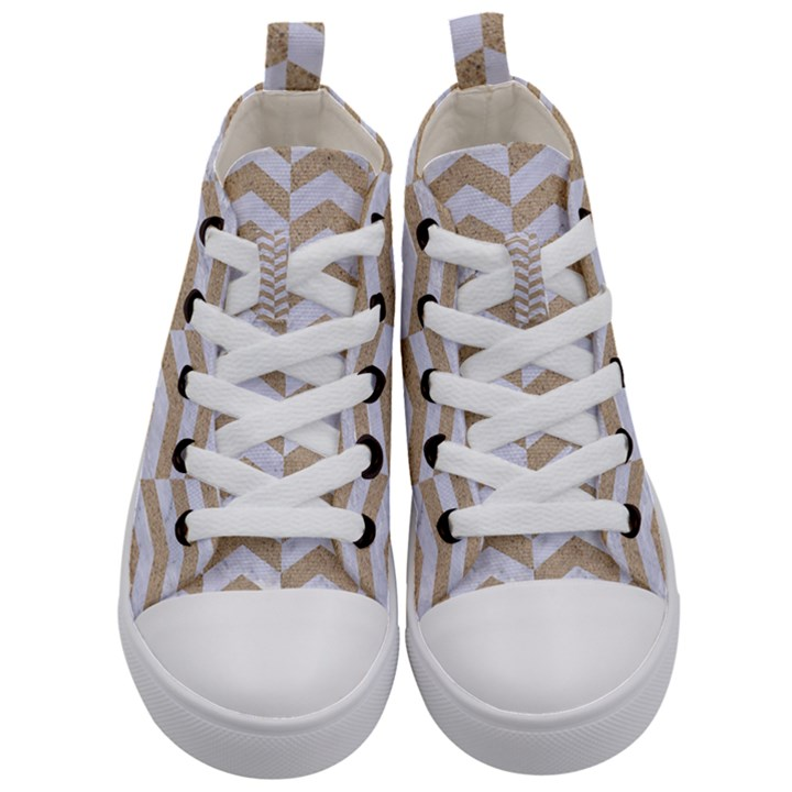 CHEVRON2 WHITE MARBLE & SAND Kid s Mid-Top Canvas Sneakers