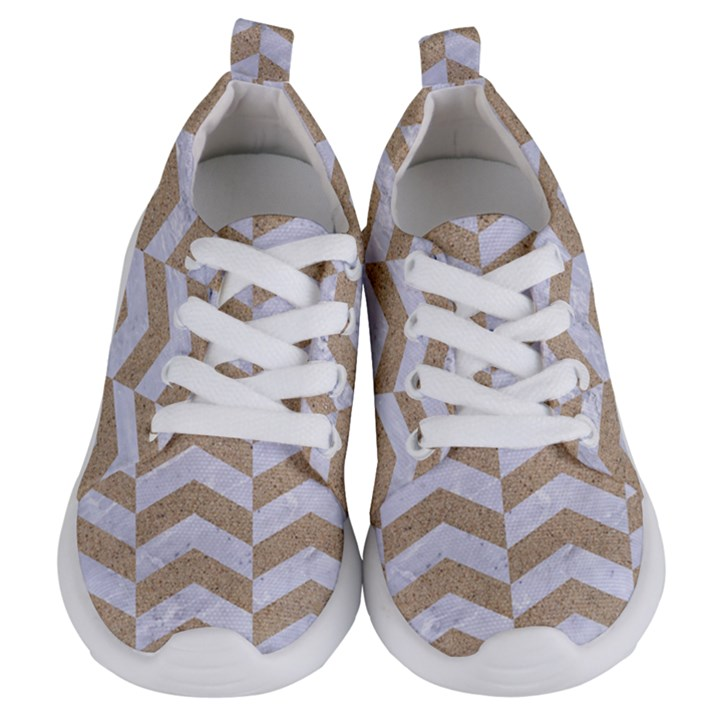 CHEVRON2 WHITE MARBLE & SAND Kids  Lightweight Sports Shoes