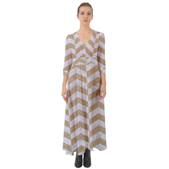 CHEVRON2 WHITE MARBLE & SAND Button Up Boho Maxi Dress