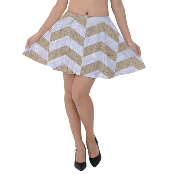 CHEVRON2 WHITE MARBLE & SAND Velvet Skater Skirt